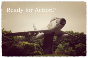 This classic Lockheed Sabre jet fighter appears to be poised for action, but in reality it is fastened firmly to a post on the ground. Are you ready for action or are you bound down?